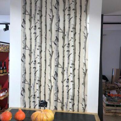 Préparation de l'espace légumes avec papier peint